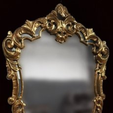 Antigüedades: ANTIGUO ESPEJO, CORNUCOPIA DE MADERA DORADA AL ORO FINO. SIGLO XIX. 105X70 CM.. Lote 127617715