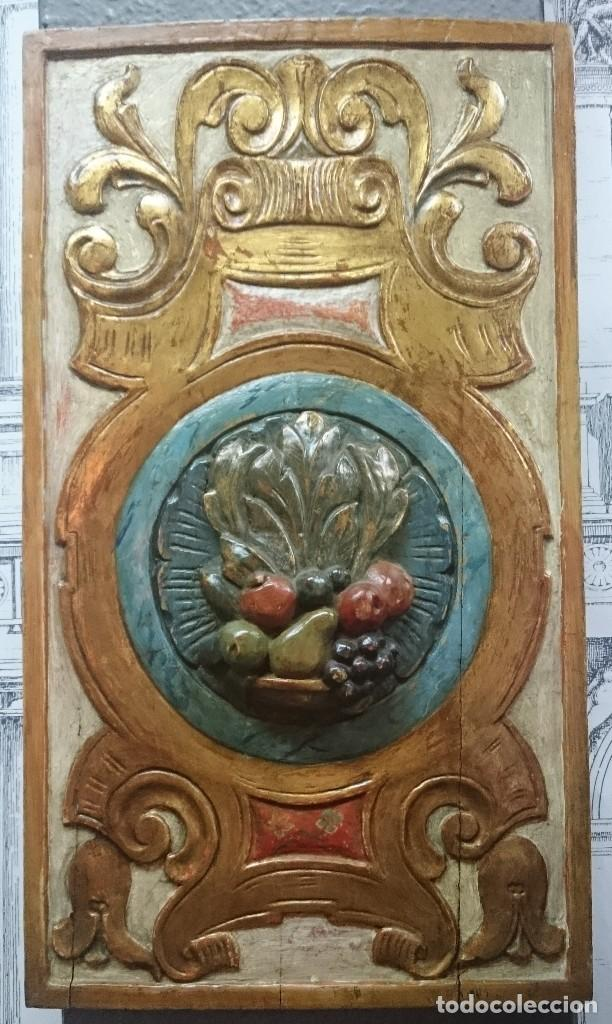 ANTIGUO TROZO DE RETABLO POLICROMADO. SIGLO XIX. (Antigüedades - Religiosas - Ornamentos Antiguos)