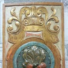 Antigüedades: ANTIGUO TROZO DE RETABLO POLICROMADO. SIGLO XIX.. Lote 128185523