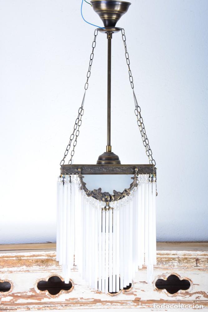 REPLICA DE LÁMPARA ART NOUVEAU - BRONCE Y MACARRONES DE CRISTAL (Antigüedades - Iluminación - Lámparas Antiguas)