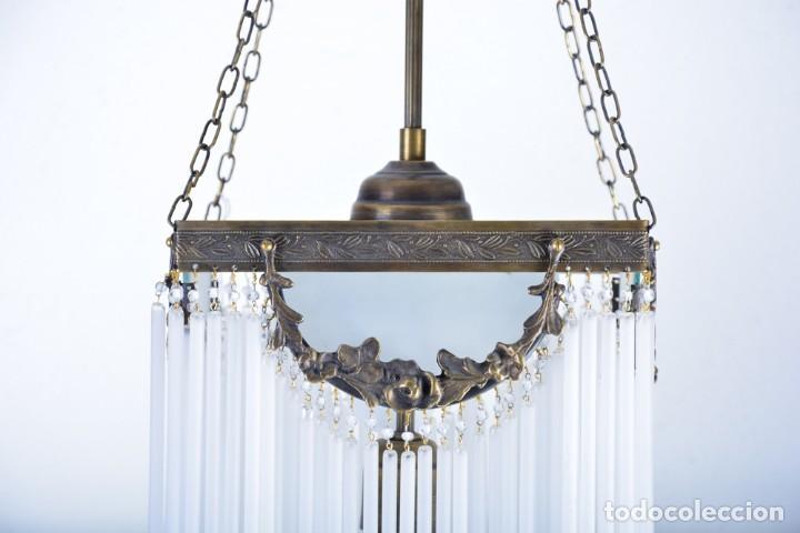 Antigüedades: Replica de lámpara Art Nouveau - Bronce y macarrones de cristal - Foto 2 - 128241703