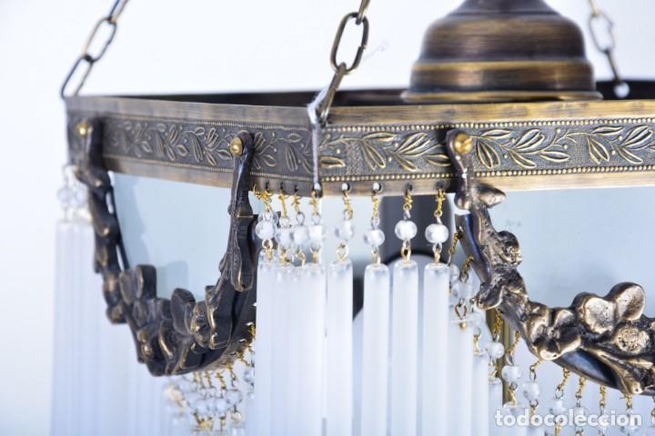 Antigüedades: Replica de lámpara Art Nouveau - Bronce y macarrones de cristal - Foto 3 - 128241703