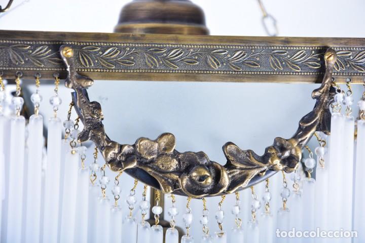 Antigüedades: Replica de lámpara Art Nouveau - Bronce y macarrones de cristal - Foto 4 - 128241703