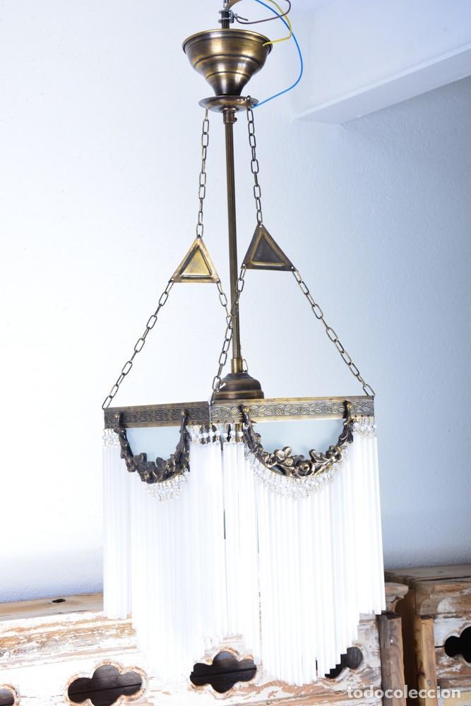 Antigüedades: Replica de lámpara Art Nouveau - Bronce y macarrones de cristal - Foto 5 - 128241703