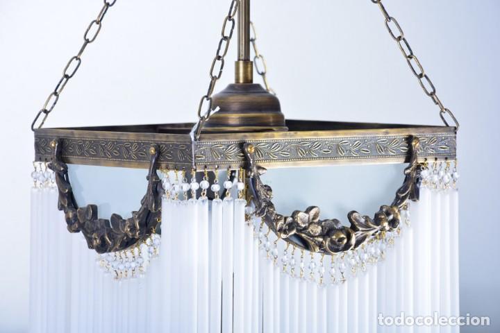 Antigüedades: Replica de lámpara Art Nouveau - Bronce y macarrones de cristal - Foto 6 - 128241703