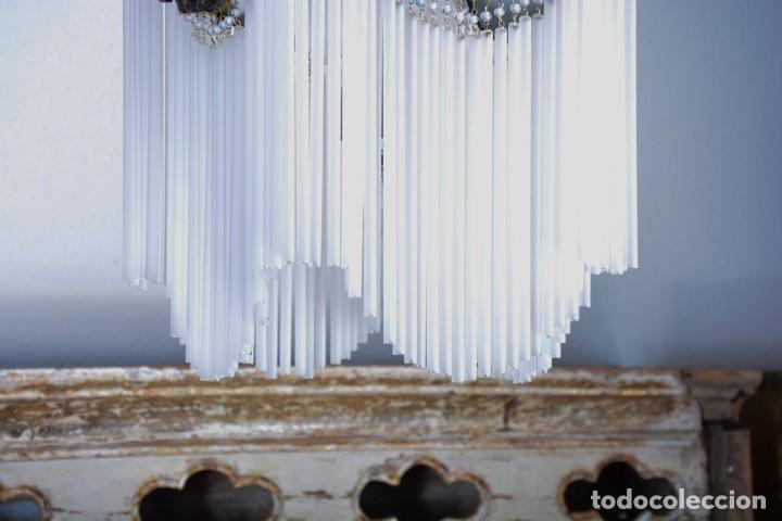 Antigüedades: Replica de lámpara Art Nouveau - Bronce y macarrones de cristal - Foto 7 - 128241703
