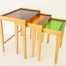 Antigüedades: MESAS NIDO AÑOS 70 / ANTIQUE TRIPLE NEST TABLES. Lote 128320339