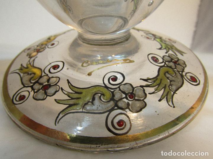 Antigüedades: CENTRO DE VIDRIO PINTADO FIRMADO CIRERA - Foto 3 - 128321727