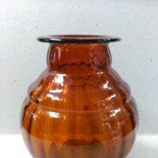 Antigüedades: JARRON DE CRISTAL COLOR AMBAR. Lote 128335983