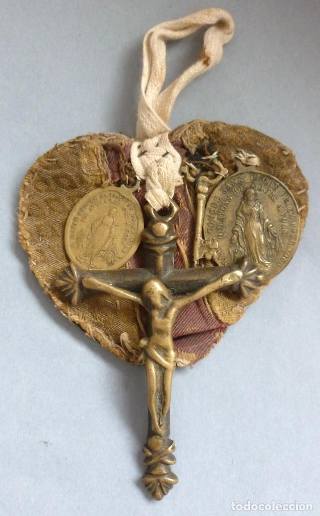 ANTIGUO ESCAPULARIO RELIGIOSO - SIGLO XIX (Antiquitäten - Religiöse - Antike Skapuliere)