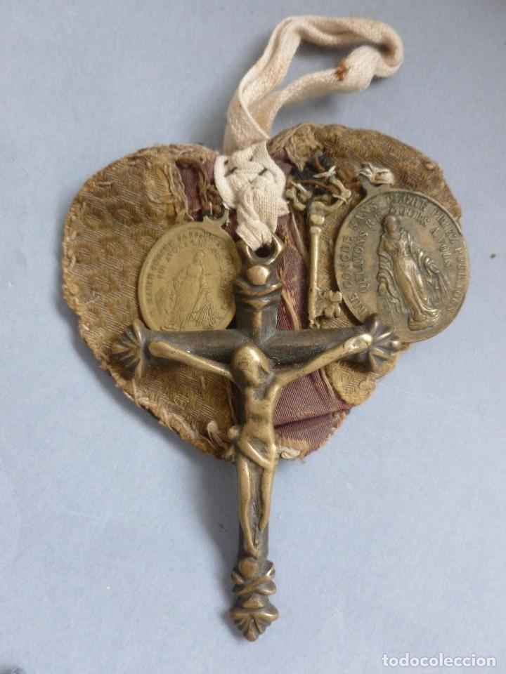 Antiquitäten: ANTIGUO ESCAPULARIO RELIGIOSO - SIGLO XIX - Foto 4 - 129029590