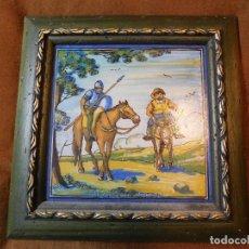 Antigüedades: QUIJOTE Y SANCHO. AZULEJO GRANDE ANTIGUO TALAVERA. FIRMADO. Lote 128376375