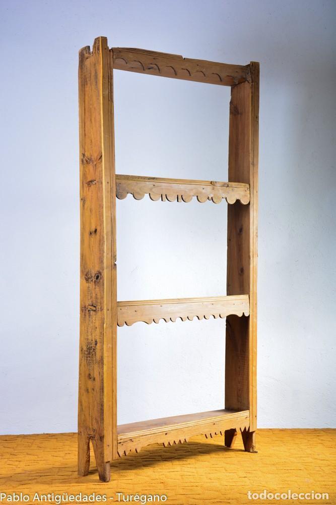 Antigüedades: Estantería antigua de madera - estilo rústico - Foto 5 - 128378123
