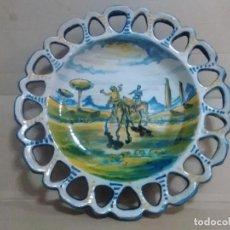Antigüedades: PLATO TALAVERA SASO DON QUIJOTE Y SANCHO PANZA 26 CTMS. Lote 128383343