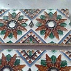 Antigüedades: AZULEJOS A CUERDA SECA DE MENSAQUE, SEVILLA. Lote 128405847