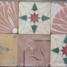 Antigüedades: LOTE DE 6 BALDOSA HIDRAULICAS CATALANAS -SELLADAS. Lote 128438731