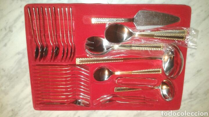 Antigüedades: Solingen 18/10 cubertería 72 piezas acero inoxidable con adornos en baño oro - Foto 3 - 128482284