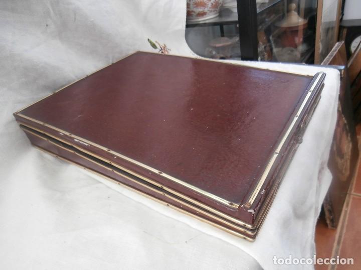 CAJA ESCRITORIO CUERO DE SIGLO XIX (Antigüedades - Muebles Antiguos - Auxiliares Antiguos)