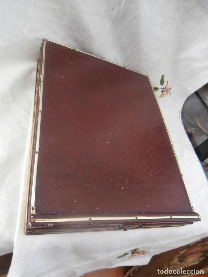 Antigüedades: caja escritorio cuero de siglo xix - Foto 2 - 128489215