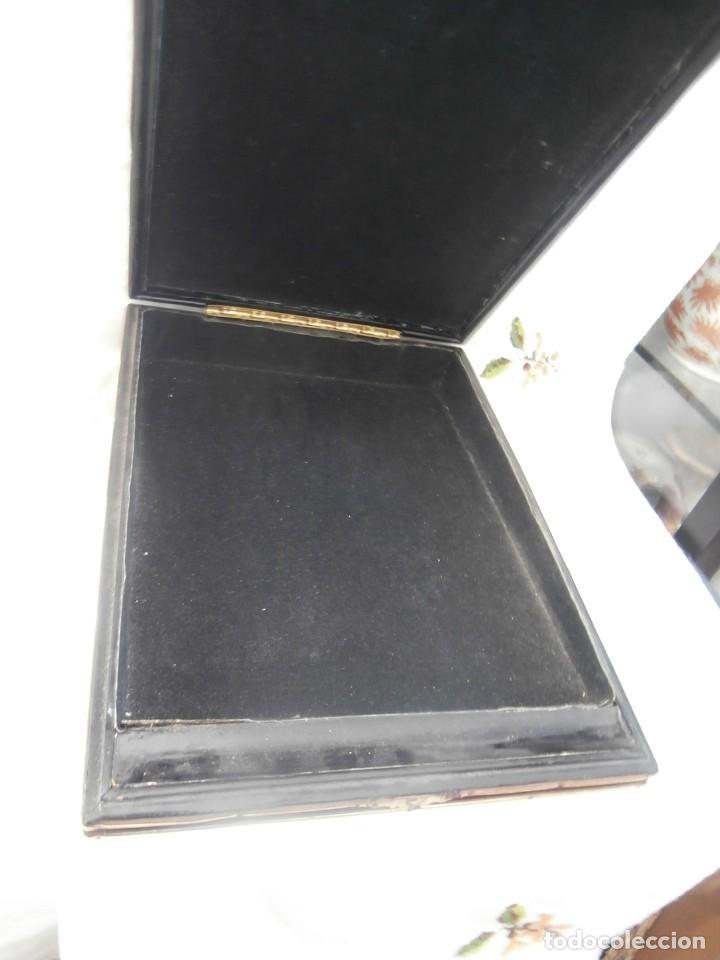 Antigüedades: caja escritorio cuero de siglo xix - Foto 3 - 128489215