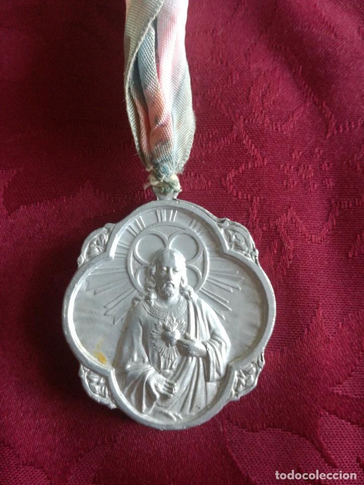 Antigüedades: MEDALLA MARIA AUXILIADORA SAGRADO CORAZON DE JESUS - Foto 2 - 128503575