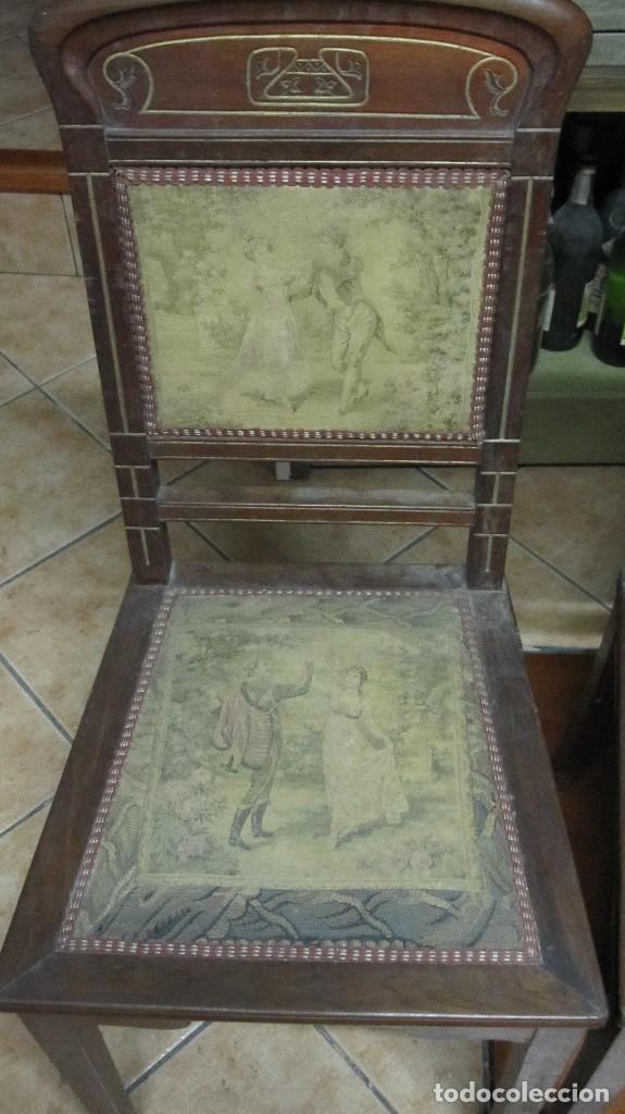 PAREJA DE SILLAS DE VESTÍBULO, REALIZADAS EN MADERA DE CAOBA - THONET HERMANOS BARCELONA DEL XIX (Antigüedades - Muebles Antiguos - Sillas Antiguas)