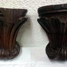 Antigüedades: ANTIGUA PAREJA DE MÉNSULAS, PEANA,REPISA DE MADERA DE CASTAÑO. PIEZAS BARROCAS. SIGLO XVIII.23X23X18. Lote 128540167