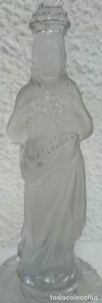 Antigüedades: Antigua pareja de candelabros de Cristal de Lalique. Piezas de iglesia. 29 cm de alto. Una maravilla - Foto 4 - 128541095