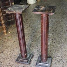 Antigüedades: PAREJA DE COLUMNAS EN MADERA .. Lote 128614195