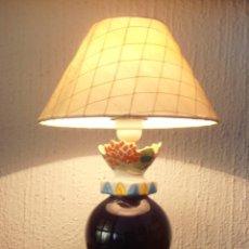 Antigüedades: LAMPARA DE PORCELANA GALLEGA , GALOS,. Lote 128633259