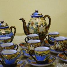 Antigüedades: JUEGO DE CAFÉ PORCELANA SATSUMA 12 TAZAS, AZUCARERO, LECHERA, CAFETERA (PARA RECOGER EN BARCELONA). Lote 128638075