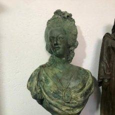 Antigüedades: BELLISIMA MARIA ANTONIETA EN YESO PATINADO Y PIE DE MARMOL. Lote 128655331
