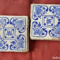 Antigüedades: PAREJA ANTIGUOS AZULEJOS ESTILO GOTICO. Lote 128669759
