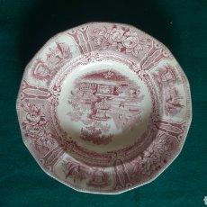Antigüedades: SARGADELOS PLATO ROJO SACADO DEL EMBAJE. Lote 128692015