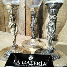 Antigüedades: COPAS CON TALLO EN PLAQUE DE PLATA. Lote 60498007