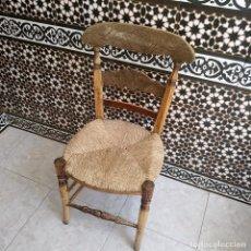 Antigüedades: SILLA DE MADERA Y ENEA, VER FOTOS.. Lote 128695995