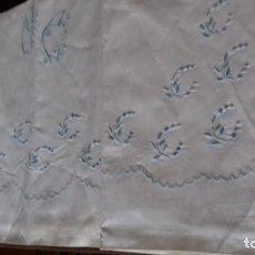 Antigüedades: ANTIGUA SABANA BORDADA A MAQUINA CON INICIALES, SIN ESTRENAR.. Lote 128726631