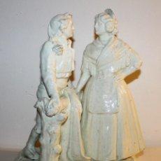 Antigüedades: PAREJA DE VALENCIANOS EN LOZA VIDRIADA DE PRINCIPIOS DEL SIGLO XX - POSIBLEMENTE DE PEYRO. Lote 128743399