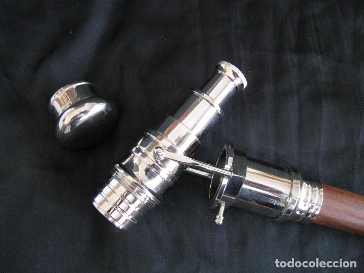 Antigüedades: Bastón de doble uso desmontable en tres partes con catalejo o telescopio. - Foto 5 - 128749791