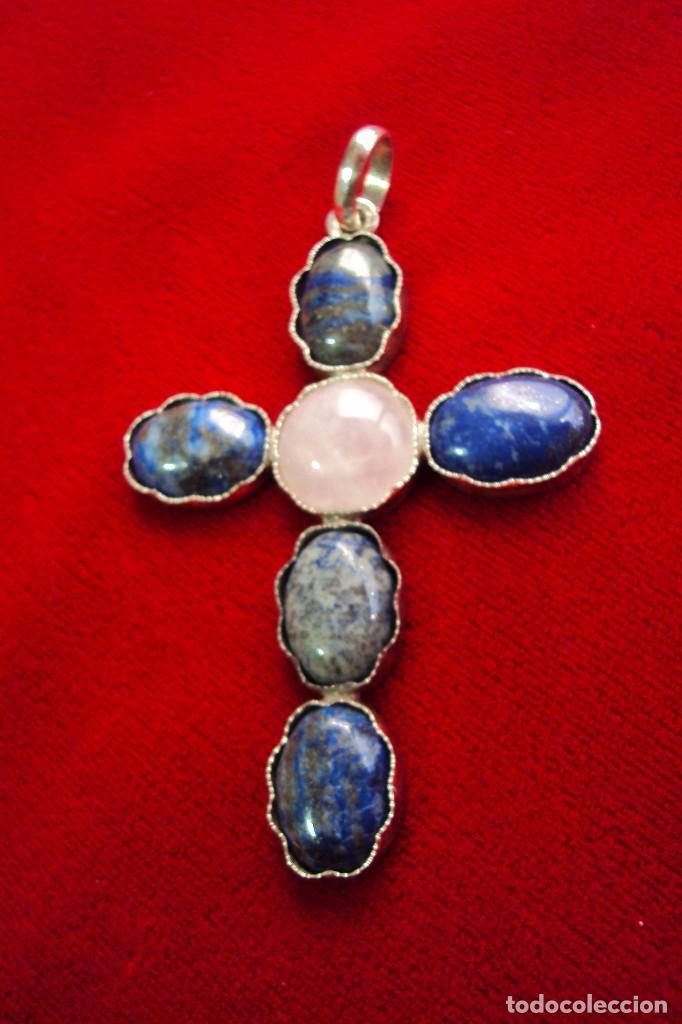 Antigüedades: Cruz pectoral plata y piedras naturales semipreciosas - Foto 2 - 128794011