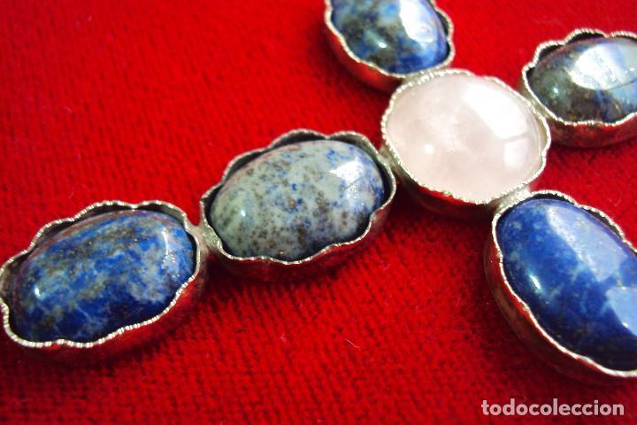 Antigüedades: Cruz pectoral plata y piedras naturales semipreciosas - Foto 3 - 128794011