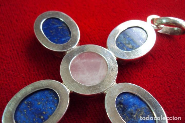 Antigüedades: Cruz pectoral plata y piedras naturales semipreciosas - Foto 5 - 128794011