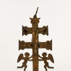Antigüedades: ANTIGUA CRUZ DE CARAVACA DE BRONCE. Lote 128807567