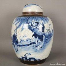 Antigüedades: FLORERO DE CERÁMICA CON TAPA PARA JENGIBRE. ASIA, CHINA NANKING 1850 - 1900. Lote 128821311