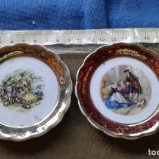 Antigüedades: PAREJA DE PLATITOS DE PORCELANA DE LIMOGE. Lote 128860803