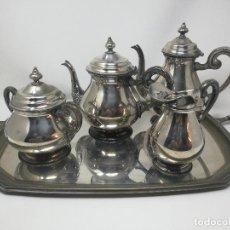Antigüedades: PEDRO DURAN ALPADUR ANTIGUO JUEGO CAFE TE CON BANDEJA ALPACA PLATEADA. Lote 128879719