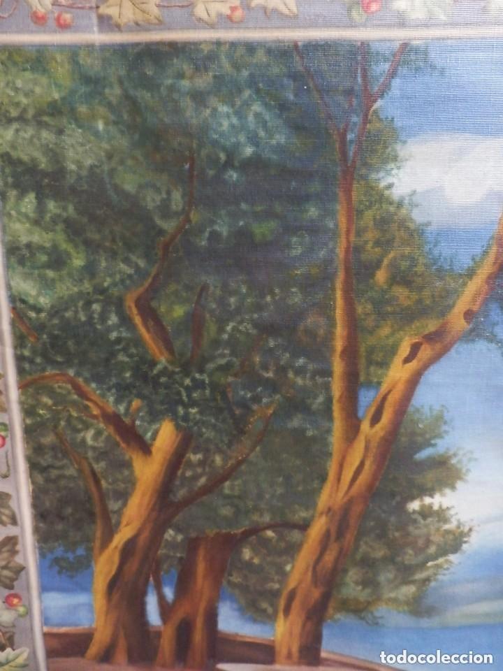 Antigüedades: GRAN TAPIZ pintado a mano fines s XIX a pps s XX - Foto 3 - 128887083