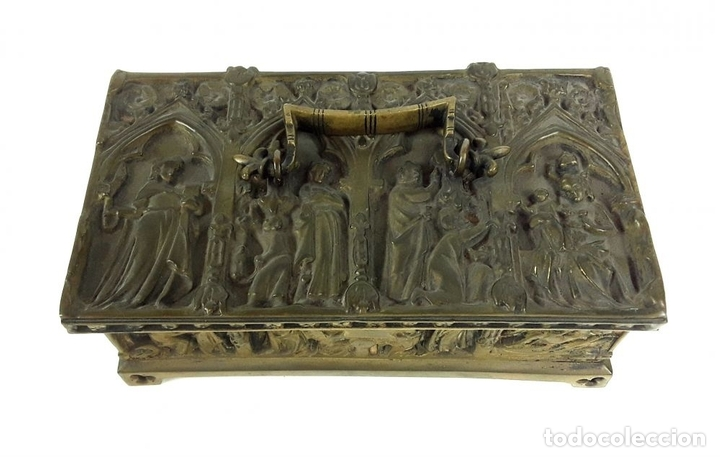 Antiquitäten: COFRE DE BRONCE. OLIVELLA HERMANOS. BARCELONA. SIGLO XIX-XX. - Foto 2 - 155818070