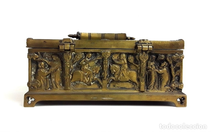 Antiquitäten: COFRE DE BRONCE. OLIVELLA HERMANOS. BARCELONA. SIGLO XIX-XX. - Foto 5 - 155818070