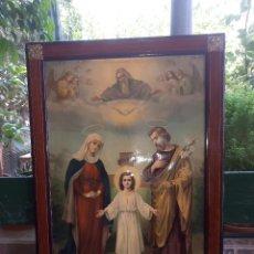Antigüedades: ANTIGUO MARCO DE MADERA CON IMAGEN RELIGIOSA, DETALLES EN LATON. Lote 128890707